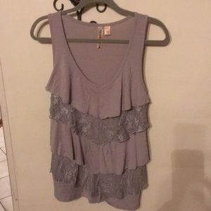 Sleeveless blouse light gray layered front size L